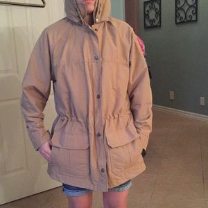 EUC woolrich tan lined hooded coat